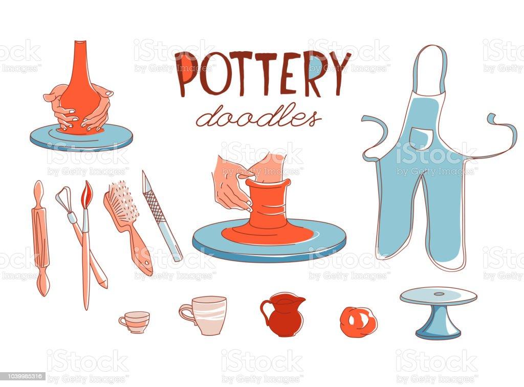 Set de iconos de estudio de taller de cerámica de arcilla estilo doodle - ilustración de arte vectorial