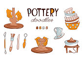 Clay Pottery Workshop Studio icons set. Artisanal Creative Craft concept. Handmade traditional pottery making, hand drawn vector illustration doodle style