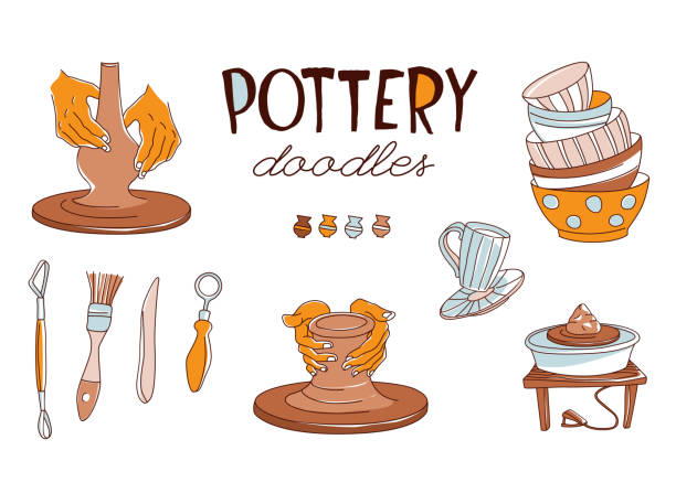 clay pottery workshop studio icons set doodle style - wyrób ceramiczny stock illustrations