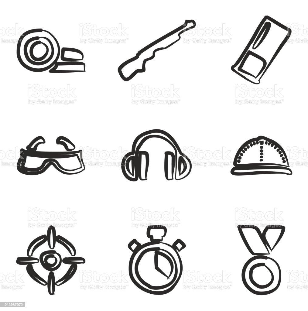 Argile icônes de tir à la volée - Illustration vectorielle
