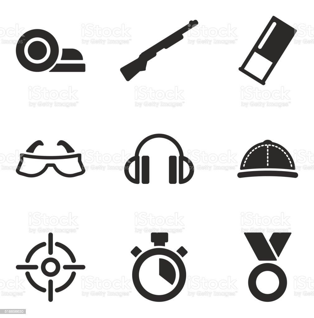 Icônes de tir au pigeon d'argile - Illustration vectorielle