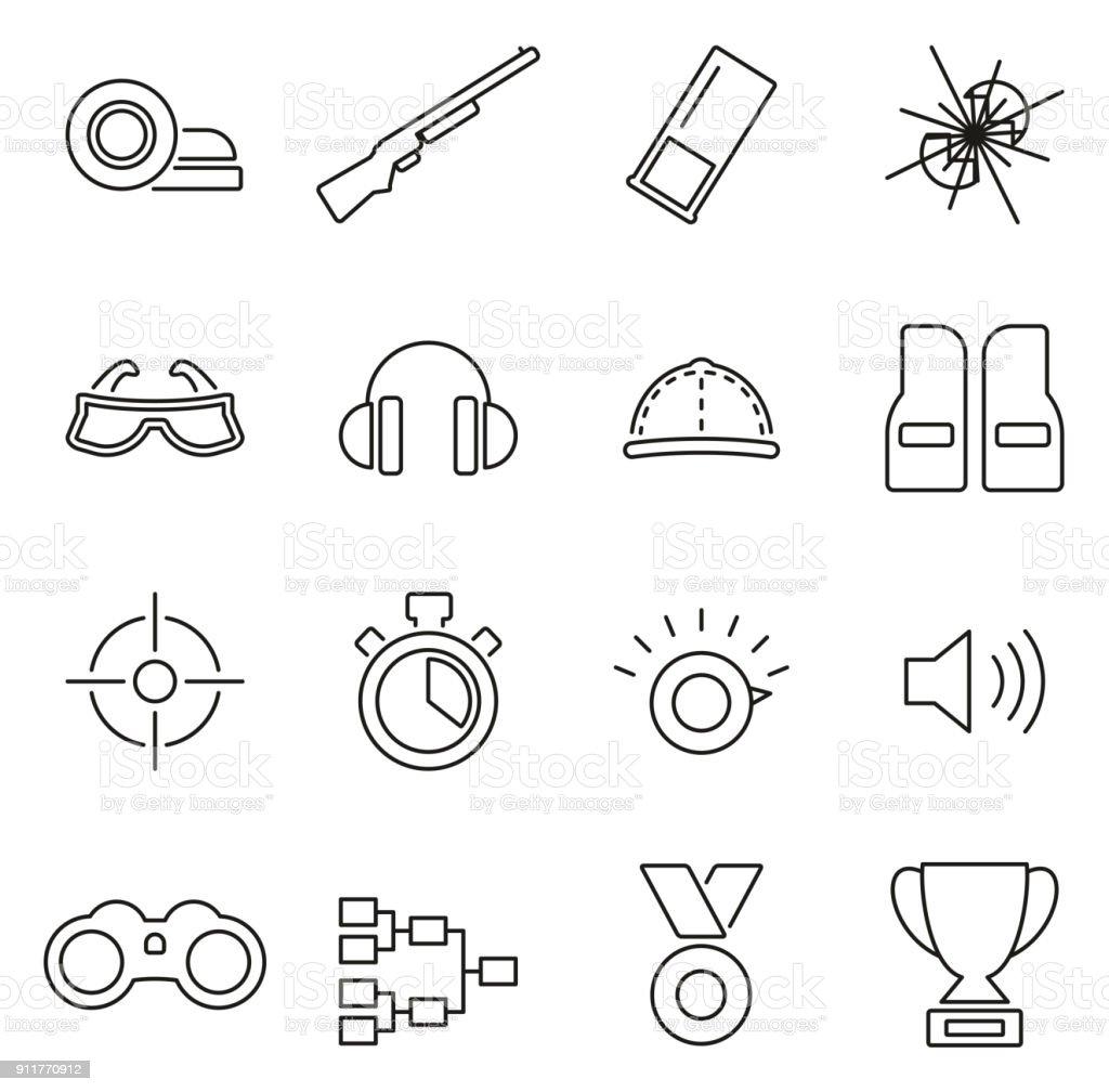 Argile de tir ou icônes Thin Line Vector Illustration jeu de tir au pigeon d'argile - Illustration vectorielle