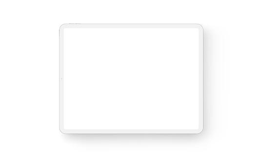 Clay tablet computer horizontal mockup - front view