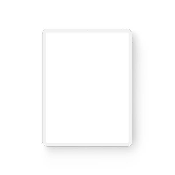 clay tablet computer mockup - front view - tablet stock illustrations