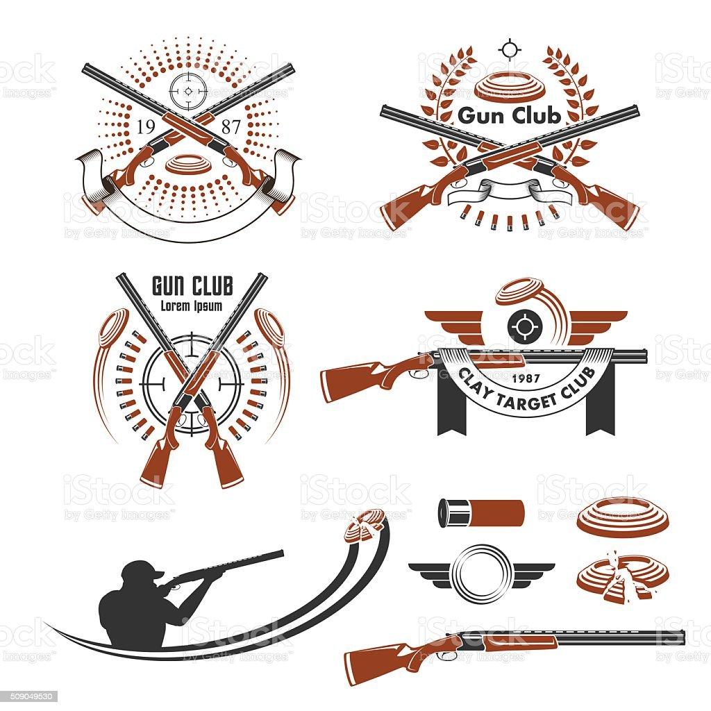 Clay target emblems and design elements vector art illustration