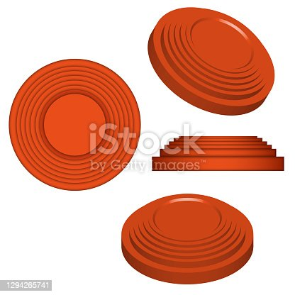 istock Clay targets isolated on white, orange plates for clay pigeon shooting, 3d vector model isometric shape. 1294265741