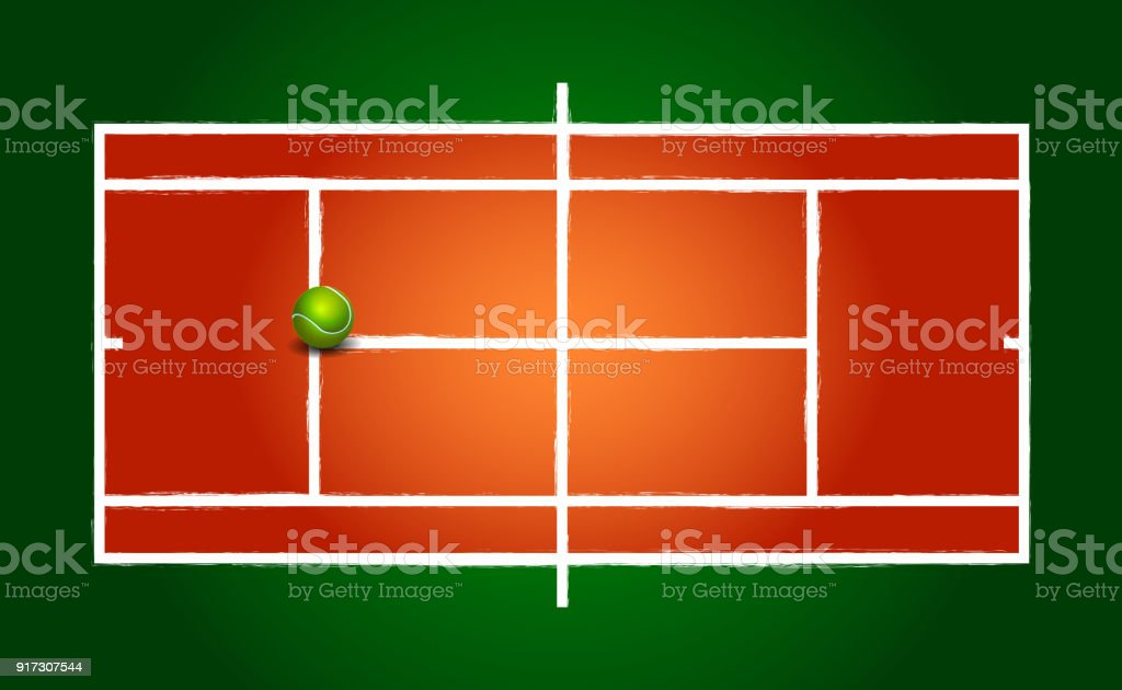 Clay tennis court and ball vector art illustration