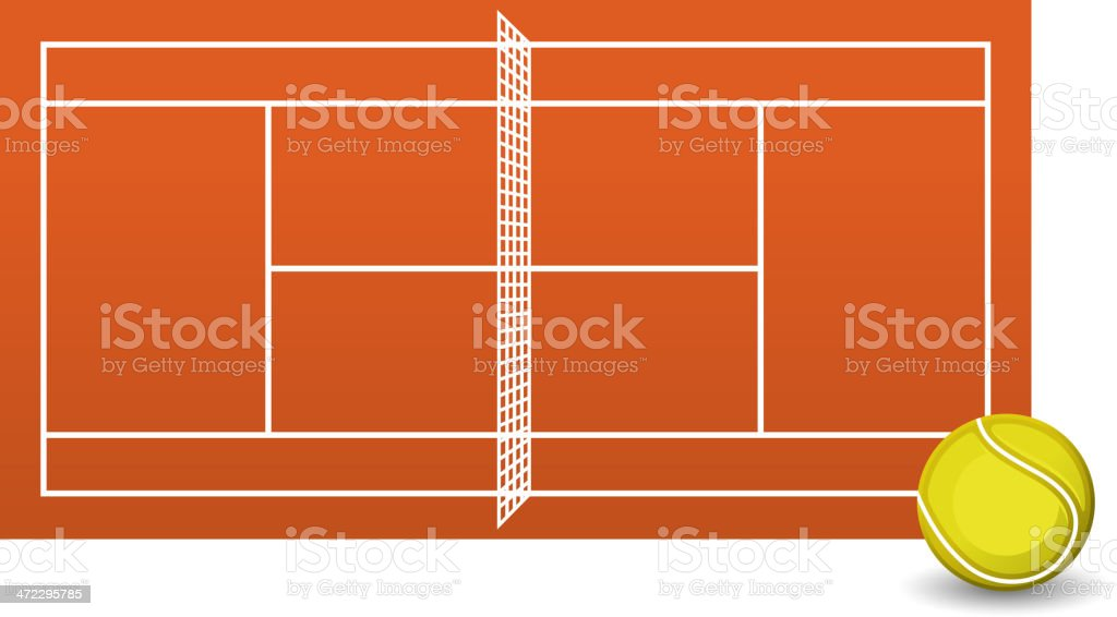 Clay tennis court field brick dust stadium with Ball royalty-free stock vector art