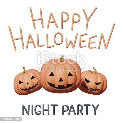 istock Clay vector illustration for Halloween party with orange pumpkins teeth. Handmade 3d material element for happy Halloween, horror holiday design. Isolated idea for evil night party, fun creative card. 1183329132