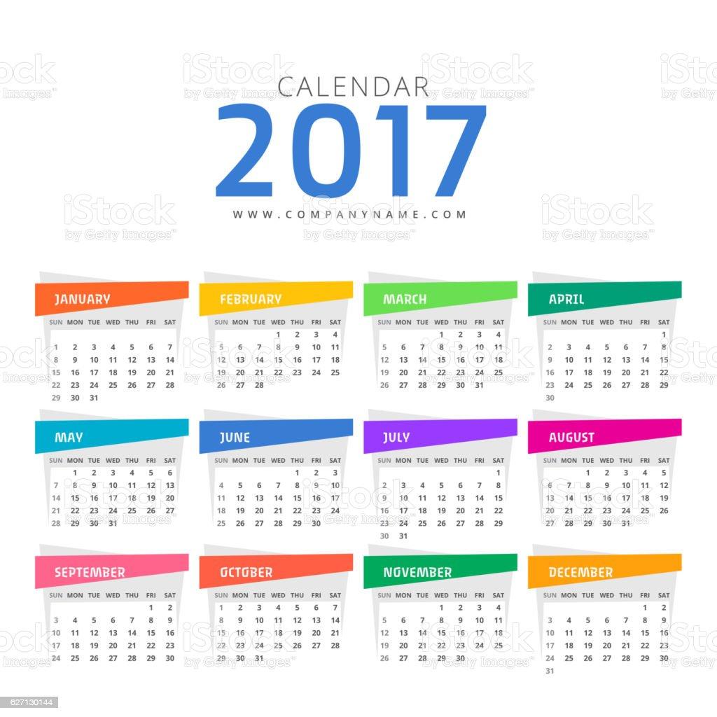 clean 2017 calendar design template stock vector art more images