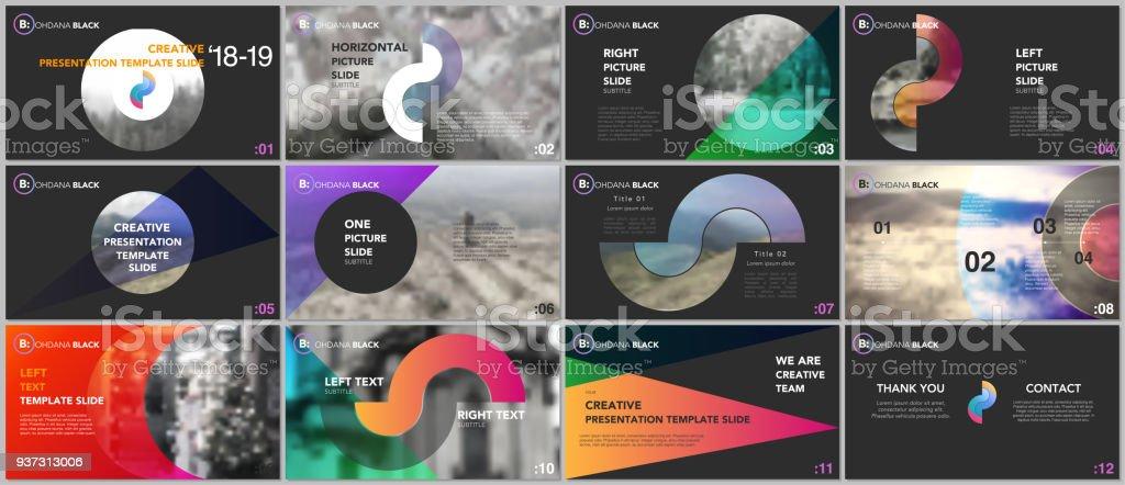 Modelos de apresentação limpa e minimal. Elementos coloridos em um fundo preto. Design de vetor de capa brochura. Slides de apresentação para o panfleto, folheto, catálogo, relatório, de marketing, publicidade. - ilustração de arte em vetor