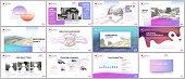Clean and minimal presentation templates. Colorful elements on white background for your portfolio. Brochure cover vector design. Presentation slides for flyer, leaflet, brochure, report, advertising.