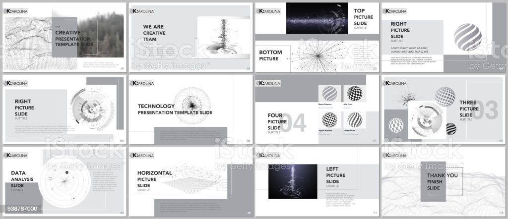 clean and minimal presentation templates tech elements on white, Minimal Presentation Template, Presentation templates