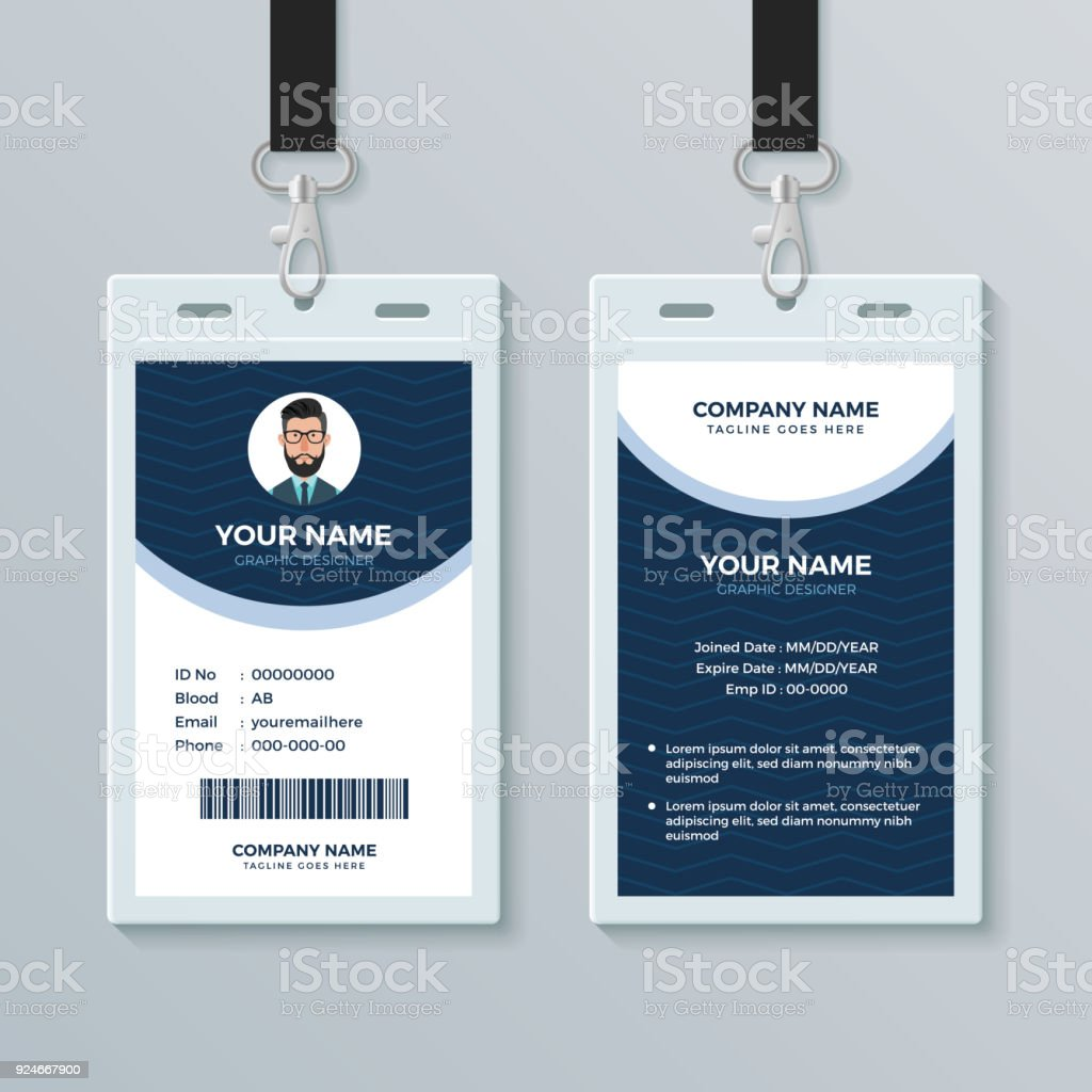 Clean And Modern Employee Id Card Design Template Stock Illustration Download Image Now