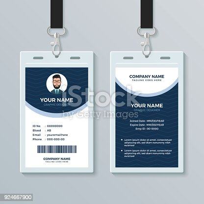 Clean And Modern Employee Id Card Design Template Stock Vector Art ...