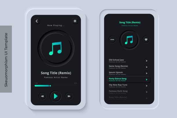 Clean and Modern Skeuomorphism UI or Neumorphism Mobile Music Streaming App with 3D Indent Button Icons on Modern Bezel Background User Interface Template - Dark Night Version vector art illustration