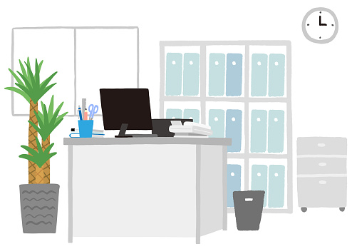 A clean and organized office desk area