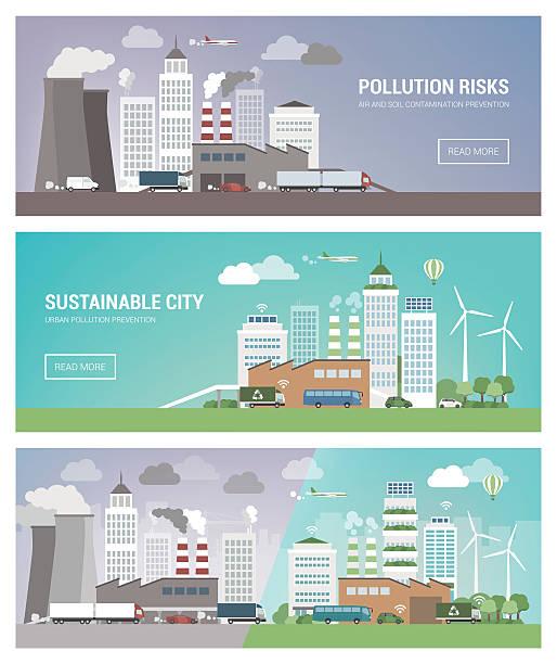 ilustrações de stock, clip art, desenhos animados e ícones de clean and polluted city - alter do chão