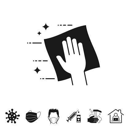 Clean and sanitize with wipes. Trendy icon isolated on white and blank background for your design. Includes 6 popular icons: - Coronavirus cell (COVID-19), - Medical or surgical face mask, - Man in medical face protection mask, - Vaccination - Syringe and vaccine vial, - Washing hands with soap and water, - Work from home. Vector Illustration (EPS10, well layered and grouped), easy to edit, manipulate, resize or colorize. And Jpeg file of different sizes.