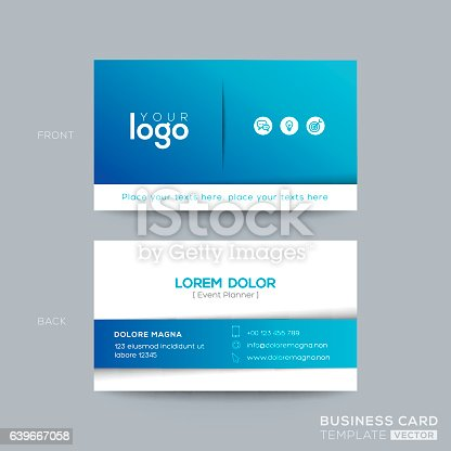 Clean and simple blue business card design