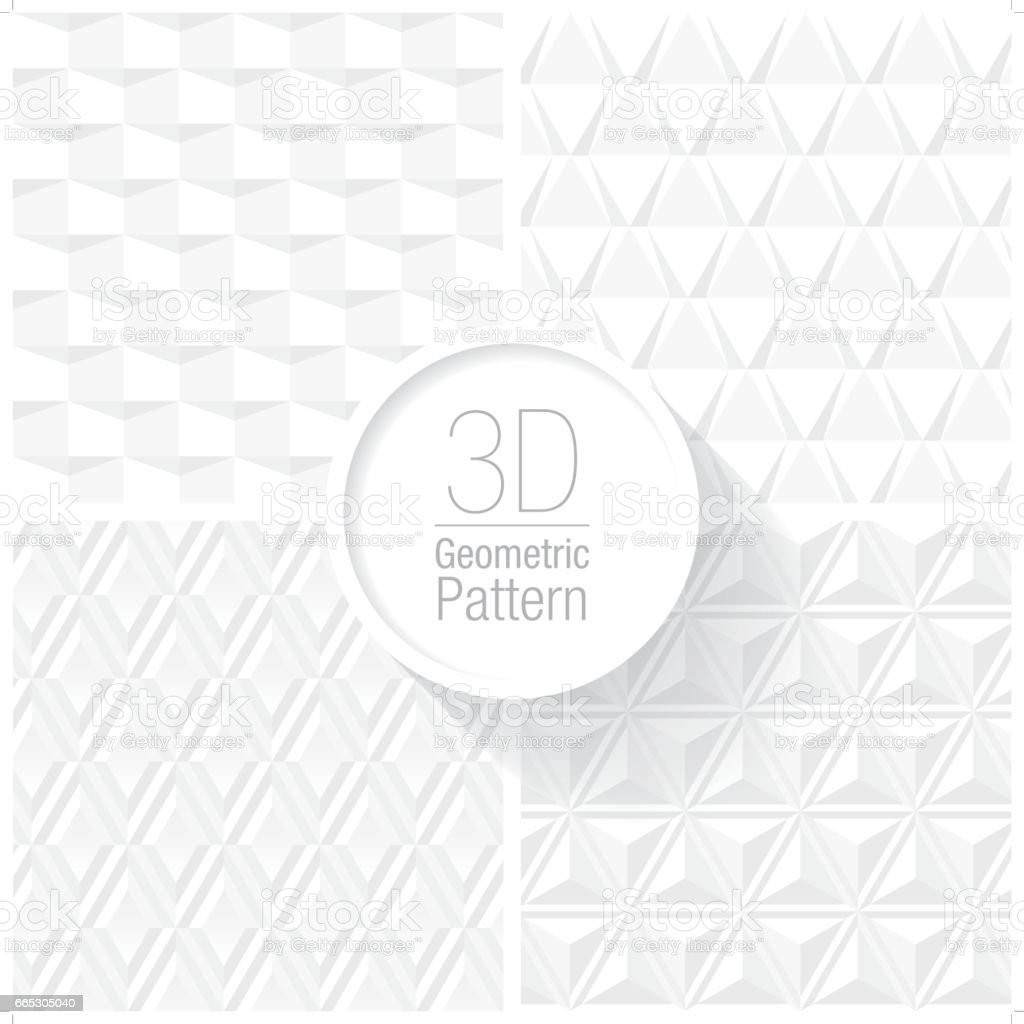 clean and simple white geometric pattern set of 4 vector art illustration