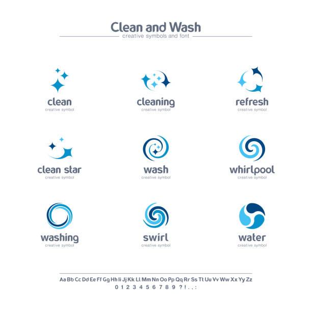 чистота и мыть творческие символы набор, шрифт концепции. вода обновления, прачечная абстрактных бизнес пиктограмма. вихрь, блеск, сверкать - закрученный stock illustrations