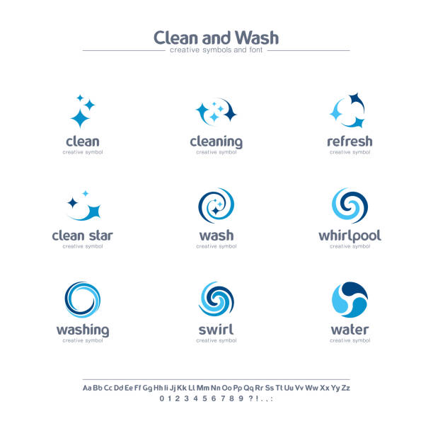 clean and wash creative symbols set, font concept. water refresh, laundry service abstract business pictogram. swirl, shine, sparkle star icon. - swirl pattern stock illustrations