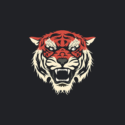 Clean Angry Tiger Head Mascot Tattoo T-shirt Design Vector Illustration