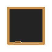 clean blank square wooden frame blackboard with white chalk and eraser isolated on white background