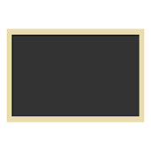clean blank wooden frame blackboard isolated on white background