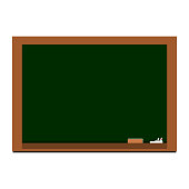 clean blank wooden frame blackboard with white chalk and eraser isolated on white background