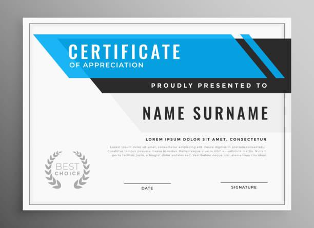 Sauberes blaues Zertifikat der Wertschätzung Vorlagen-Design – Vektorgrafik