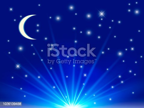 Clean blue night sky with stars. Vector Illustration