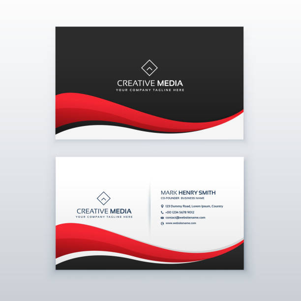 clean business card design with red wave - business cards templates stock illustrations