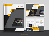 This Bi fold brochure design template for your Corporate, Business, Advertising, Marketing, Agency, Annual report cover, flyer, magazine and Internet business with professional, modern, minimal and abstract design in A4 format.