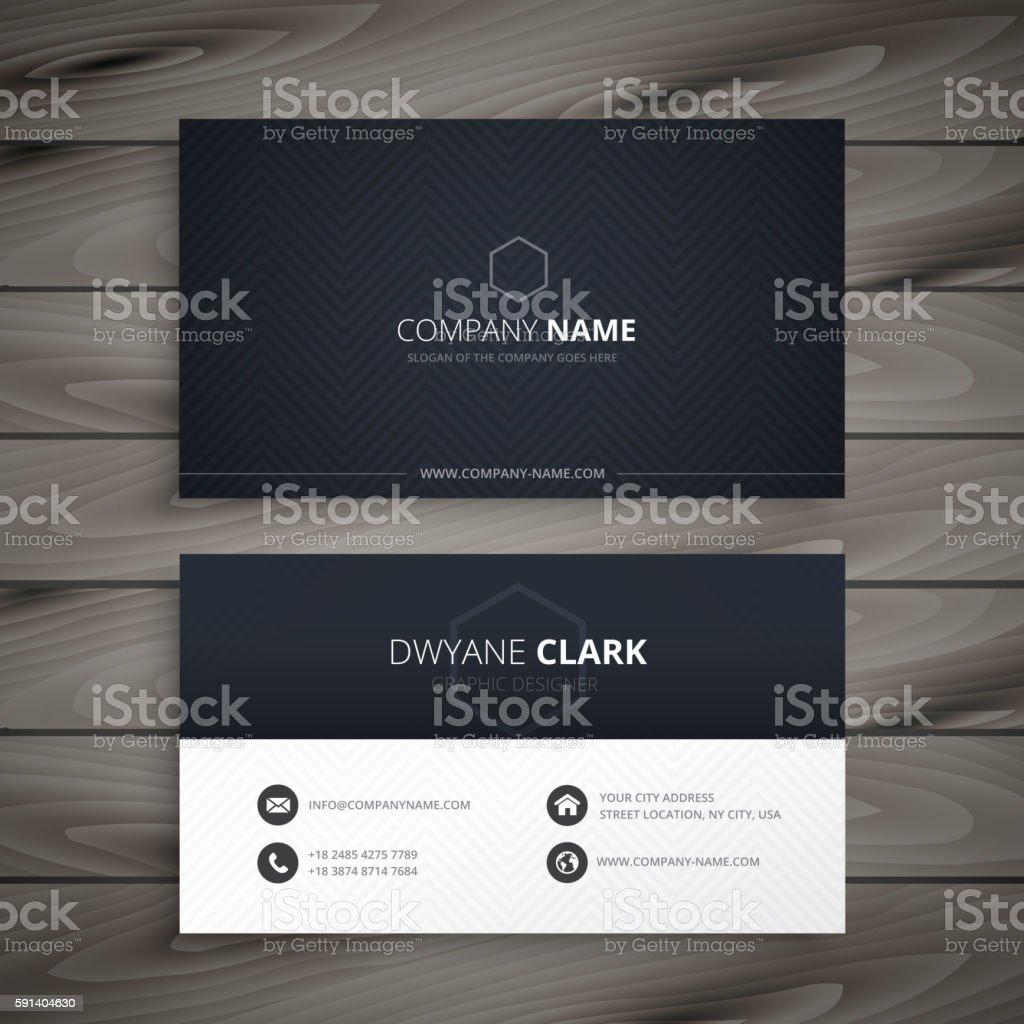 clean dark business card vector art illustration