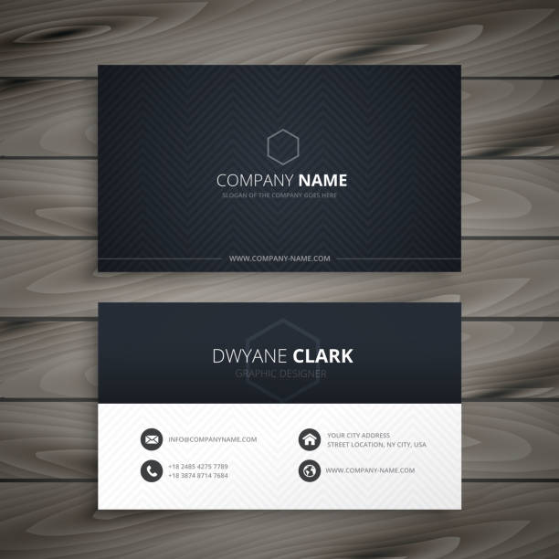 clean dark business card - business cards templates stock illustrations
