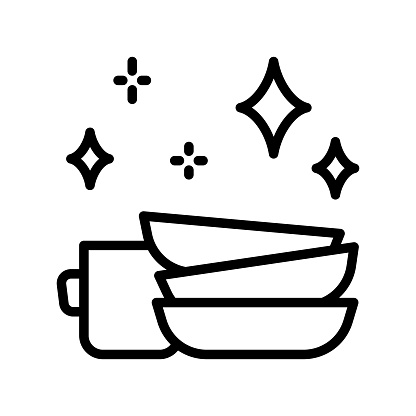 Clean dishes flat line icon. Shiny plate stack, wash kitchen utensil, pile tableware. Outline sign for mobile concept and web design, store