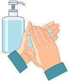 Hand clean with liquid soap