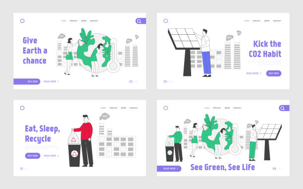 Clean Electricity Development Website Landing Page Set. People Prepare for Day of Earth. Garbage Recycling Solution, Fine Dust Air Pollution Web Page Banner. Cartoon Flat Vector Illustration, Line Art Clean Electricity Development Website Landing Page Set. People Prepare for Day of Earth. Garbage Recycling Solution, Fine Dust Air Pollution Web Page Banner. Cartoon Flat Vector Illustration, Line Art plastic pollution stock illustrations