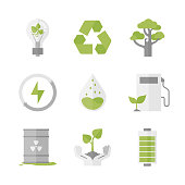 Flat icons set of nature renewable energy, ecology protection and recycling, green innovation and technology, waste reduction. Flat design style modern vector illustration concept. Isolated on white background.
