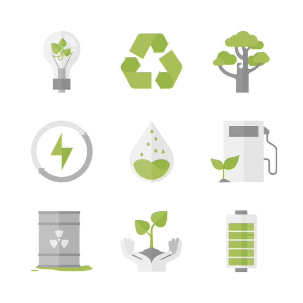 clean energy and ecology protection flat icons set - sustainability stock illustrations