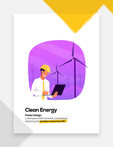 Clean Energy Concept for Posters, Covers and Banners. Modern Flat Design Vector Illustration.
