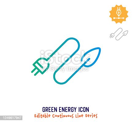 istock Clean Energy Continuous Line Editable Icon 1249617947