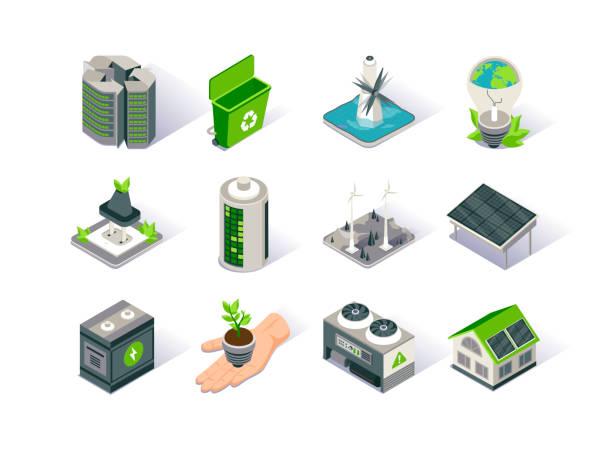 Clean energy isometric icon set. Ecology environment and electricity generation. Alternative sources, wind and solar energy production, tidal power station. – artystyczna grafika wektorowa