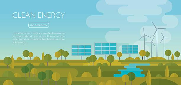 illustrazioni stock, clip art, cartoni animati e icone di tendenza di energia pulita paesaggio banner - pannelli solari
