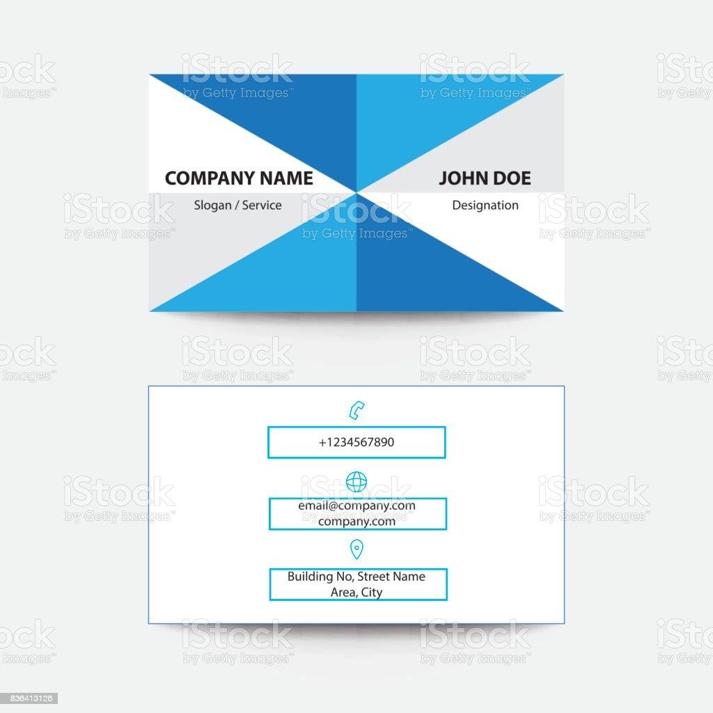 Nettoyer Le Pli De Design Plat Style Couleur Bleu Business Carte Visite Stock Vecteur Libres
