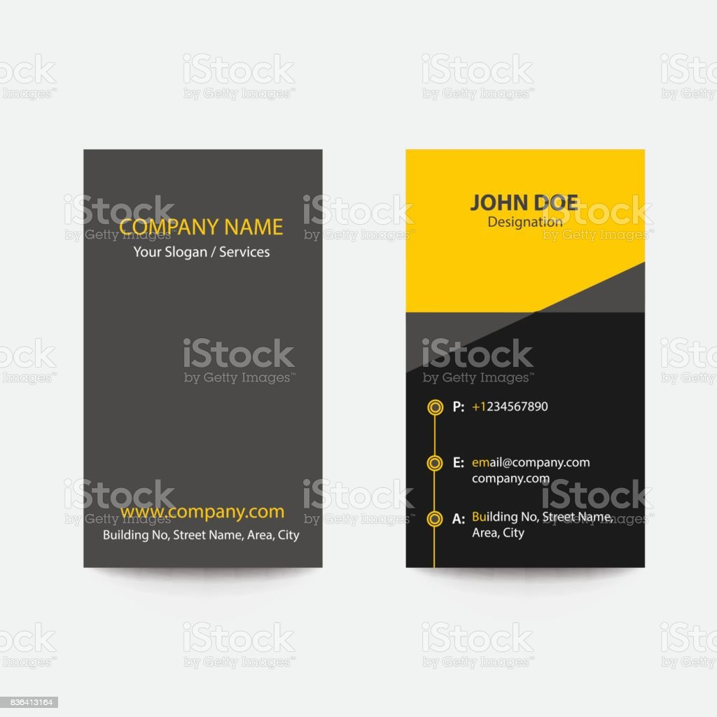 Nettoyer Le Pli De Design Plat Style Couleur Jaune Business Carte Visite