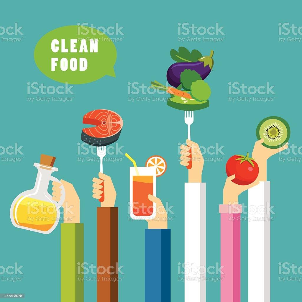 clean food concept flat design vector art illustration