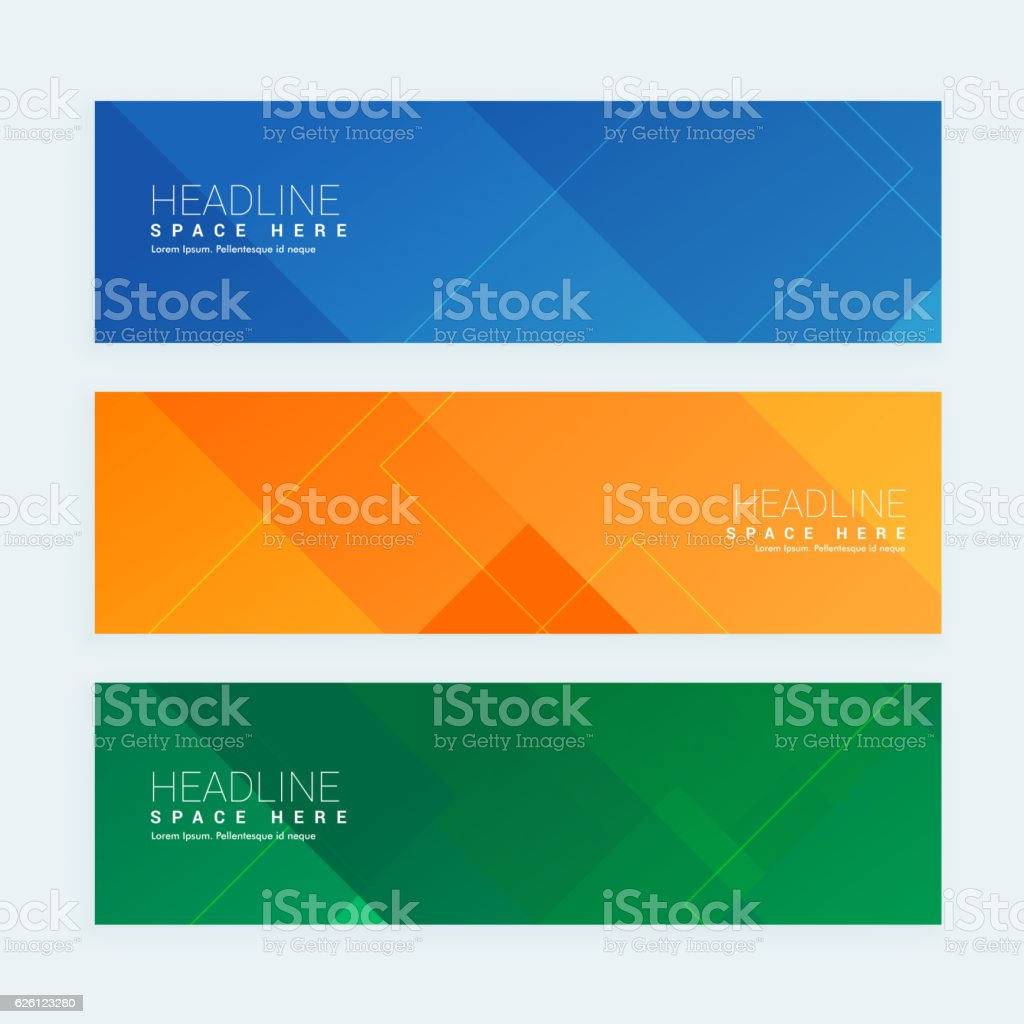 clean geometrical style minimal banners set with three different vector art illustration